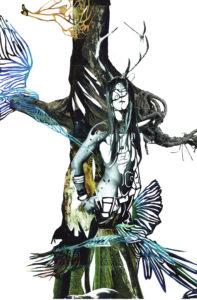 'Aviator treeman', detail uit aviator tree, collage, 2005, 50 x 70 cm
