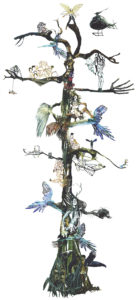 'Aviator tree', kantcollage, 2007, 250 x 100 cm