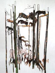 'Bush horse run', collage, 2009, 80 x 70 cm