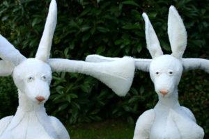 'Communication rabbits white', soft sculptures, 2007, 85 x 68 x 60 cm