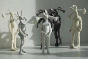 'Communication rabbit's', installatie, soft sculptures, 2009, 500 x 450 x 300 cm