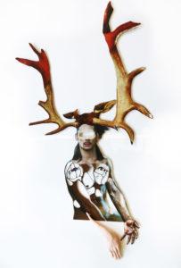 'Paardenman borst', collage,2017, 80 x 70 cm