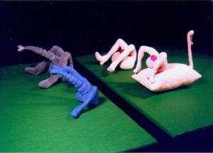 'Urban sprawls & hooters', soft sculptures, fluweel en fiberfill, 1998, à 15 x 12 x 12 cm