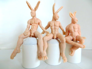 'Three man rabbits', claymorfs, 2014, 40 x 50 x 35 cm