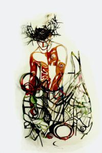 'Bushman swirl', collage, 2007, 50 x 45 cm