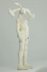 'White communication rabbit 3 detail', soft sculpture, 2007, 85 x 50 x 30 cm