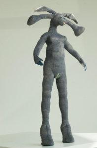 'Grey communication rabbit female', soft sculpture, 2007, 90 x 50 x 30 cm