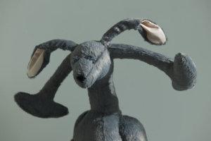 'Grey communication rabbit male', soft sculpture, 2007, 90 x 50 x 30 cm