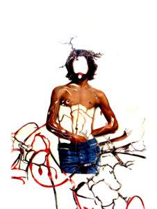 'Jesus george michael', detail spiritual tree, collage, 2005, 250 x 130 cm
