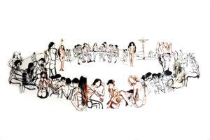 'Last supper', collage, 2005, 200 x 100 cm