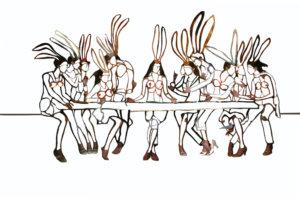 'Last supper detail', kantcollage, 2006, 250 x 90 cm