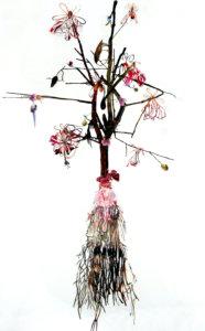 'Lingamtree', collage, 2008, 250 x 110 cm