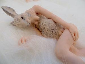 'Rabbit down plush', claymorf, 2017, 40 x 12 x 12 cm