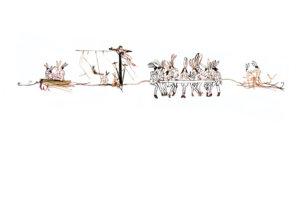 'Rabbit last supper', collage, 2006, 180 x 90 cm