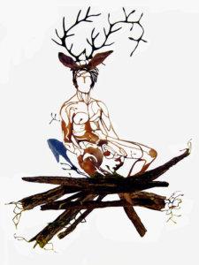 'Treeman in branches', detail spiritual tree, collage, 2005, 250 x 90 cm