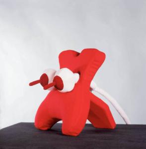 'Red squeezer medium', textiel museum, soft sculpture, 1998, 66 x 80 x 40 cm