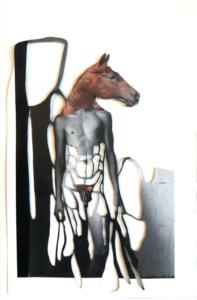 'Paardman bruin', collage, 2020, 45 x 35 cm,