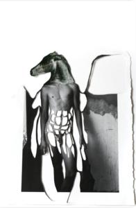'Paardman zwart', collage, 2020, 45 x 35 cm