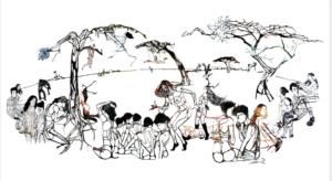 'Medusa cirkel', collage, 2006, 250 x 100 cm