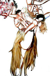 'Haircollage detail', kantcollage, 2005, 250 x 90 cm
