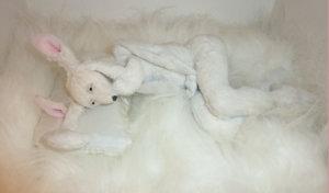 'White rabbit laying down', soft sculpture, 2012, 40 x 28 x 18 cm