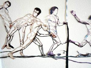 'Running flocks', kantcollage, 250 x 80 cm